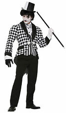 Harlequin clown habit noir blanc homme costume halloween robe fantaisie