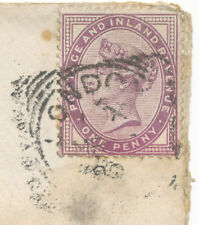 """2455 """"LONDON-E.""""  Squared Circle Postmark on poor cover with QV 1 D lilac"""