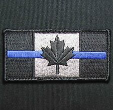 CANADA FLAG CANADIAN SWAT POLICE THIN BLUE LINE TACTICAL BLACK OPS VELCRO PATCH