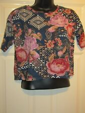 RIVER ISLAND BLUE WITH RED PURPLE FLORAL TOP - UK Size 8