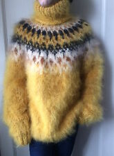 Two Hayfield strands thick Icelandic longhaired mohair sweater in ochre yellow