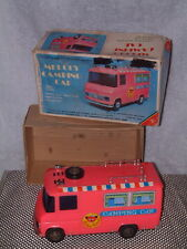 YONEZAWA PLASTIC & TIN BATTERY OPERATED MELODY CAMPING CAR. WORKING W/BOX. PINK