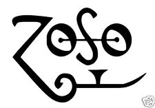 "Zoso Led Zeppelin / Jimmy Page ispirato Logo Adesivo / Decalcomania. 6 ""x 4"""