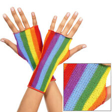 Sheer Rainbow Gay Pride Fishnet Fingerless Gloves Wrist Length Short Arm Warmers