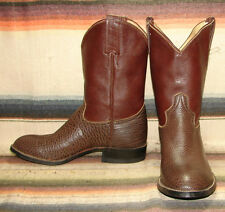 Vintage Adams Boot Co. Brown Bullhide Leather Cowboy Boots Mens 7.5 Womens 9 NEW