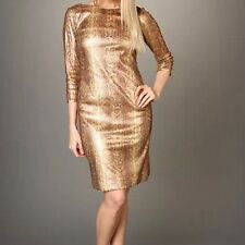 BNWT 🎀 TAHARI 🎀UK Size 14  (10 US, 40 EU) Sequinned Snake Gold Dress