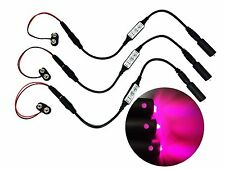 3 Pack Micro Effects Purple Magenta LED Lights & Controller 9V powered MELPD9V3P
