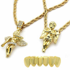 "Mens 14k Gold Plated 2 pcs set of Angels 4mm 30"" & 24"" Rope chains Bottom Grillz"