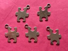 Tibetan silver puzzle piece/jigsaw charms 5 per pack-autism awareness symbole
