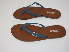 Womens Shoes Leather Sandals shoes NEW UNR8ED Tranquil Thong Flat Blue 9 M