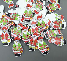 25pcs Christmas Santa Claus Buttons Wooden Sewing decoration Scrapbooking 35mm