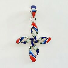 AWESOME HANDMADE MULTICOLOR TURQUOISE LAPIZ OPAL INLAY .925 SILVER CROSS PENDANT