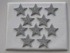 10 X EDIBLE SILVER FONDANT GLITTER STARS. CAKE DECORATIONS - LARGE 4cm