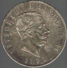 ITALIE - 5 LIRE ARGENT.VITTORIO EMANUELLE II 1872 M.MONNAIE DE BELLE QUALITE