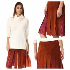 NEW☆RARE☆Diane☆Von☆Furstenberg☆$798MELITA☆SUEDE☆SILK☆PLEATED☆SKIRT☆SZ-(4)☆WOMENS