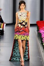 Mary Katrantzou RARE RUNWAY Digital Print Metallic Bow Silk Dress size 8uk