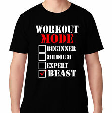 WORKOUT MODE BEAST WEIGHTS FUNNY CROSSFIT HEALTH RUNNING BENCH TRAIN T SHIRT