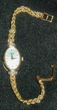 14K SOLID GOLD WOMAN'S BULOVA WRISTWATCH w DIAMONDS, SAPPHIRE, MOP FACE, WORKS!