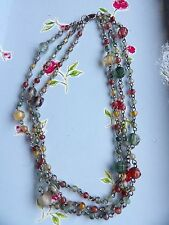 THREE STRAND MULTICOLOURED GLASS BEAD & CHAIN WATERFALL NECKLACE 474-5