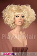 OUTRAGEOUS!! Huge Beehived Costume Wig Platinum Blonde