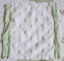 Little Giraffe Green Velvet w Cotton Dots Baby Security Blanket w Cream Satin EU