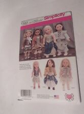 """SIMPLICITY 1392 18"""" DOLL CLOTHES SEWING PATTERN UNCUT Steampunk Style"""