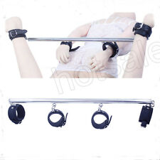 PVC Leather Stainless Steel Leg Spreader Bar With Ankle & Wrist Cuffs Belt