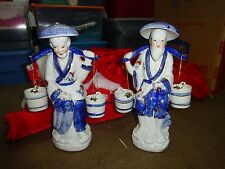 2 Two Oriental Chinese Fisherman w/bait buckets Porcelain ceramic Figurines 13""
