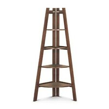 Corner Wall Shelf Kitchen Storage Bathroom Display 5  Bookcase Ladder Wood New