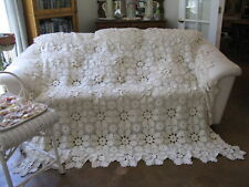 Antique Crochet Ecru 3D Floral Bedspread Coverlet Throw King Queen Full 80x80