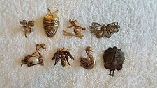 Vintage Demascene, Tortolani, Spain Mix Pin Lot , Swan, Butterfly, Insect & more