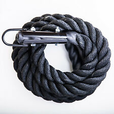 15 FT X 1.5 GYM Black Climbing Rope PolyDac Battle Crossfit Training Fitness