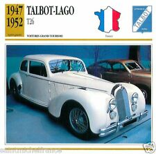 TALBOT-LAGO T26 1947 1952 CAR VOITURE FRANCE CARTE CARD FICHE