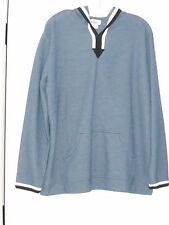 ONE HANES PLACE HEATHER GRAY BLUE PULLOVER HOODIE NAVY WHITE STRIPES LARGE