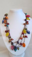 """WOW! ASSORTED GLASS AND WOOD BEADED 4 STRAND NECKLACE/CORD/EUC  18""""S TO 21""""S"""