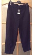 "BNWT "" Next "" Size 6 R Cropped Navy Stripe Trousers Smart Work Office (34 EU)New"