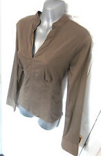 ❤ B MONTON Gorgeous Size 14 (42) Brown Stretchy Fitted Shirt Blouse Top Side Zip