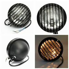 6'' 3/4'' Black Motorcycle Halogen Headlight CNC Grill Cover Lights For Harley