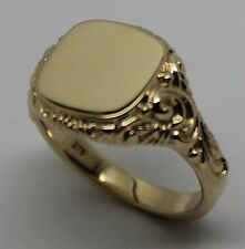 KAEDESIGNS SOLID GENUINE  NEW 9ct  YELLOW GOLD SQUARE ENGRAVED SIGNET RING 335
