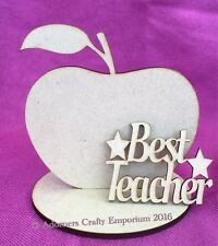 No1 / Best Teacher / Thankyou Apple Plaque Stand 15cm  Mdf Craft Shape Wood
