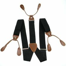 Fashional Men's Suspenders Braces Adjustable Leather Button Holes Black BD705
