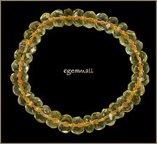"125ct Citrine Rondelle Faceted Stretch Bracelet Beads 9-10mm 7.5"" Grade A #62077"