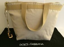 Authentic Dolce & Gabbana Tote  Beige Brown Gold-tone Hardware Diaper Bag Travel