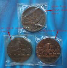 Shanghai Mint:1985&1987 China medal the Great Wall copper,plum tree rare