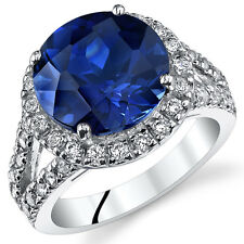 6.75ct Lab Created Round Blue Sapphire Sterling Silver Ring Sizes 5 to 9 SR11058