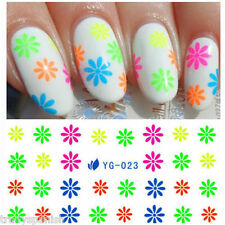 Nail Art Water Decals Nail Stickers Transfers Neon Lace Flowers Floral Rainbow