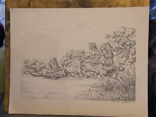 Dessin au crayon épave d'avion André Simon 1926-2014 1946 Artiste Lorrain
