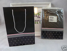 Gift Bags With Faux Pearl Handles Black Pink & White American Greetings Lot Of 6