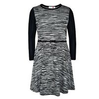 GIRLS KIDS BLACK GREY SKATER DRESS BELT PARTY LONG SLEEVE AGE 7 8 9 10 11 12 13