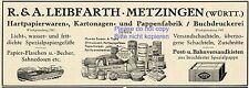 Papierfabrik Leibfarth Metzingen Reklame von 1935 Karton Buchdruckerei Werbung